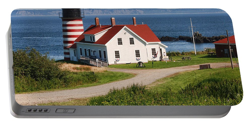 Maine Lighthouse Photographs Portable Battery Charger featuring the photograph West Quaddy Lighthouse by Phyllis Taylor