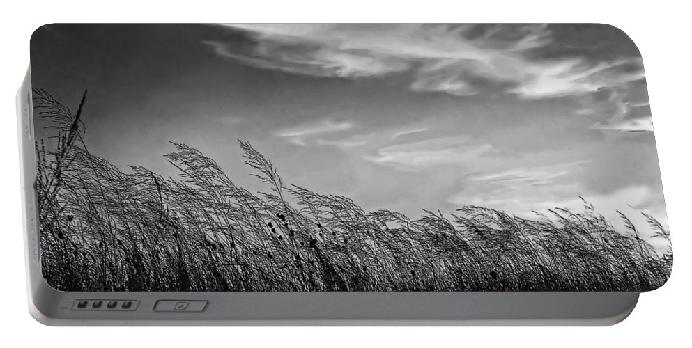 Evening Portable Battery Charger featuring the photograph West Wind Bw by Steve Harrington