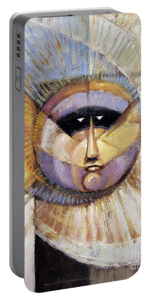 Mask Portable Battery Charger featuring the painting Western Solarmask by Randy Wollenmann