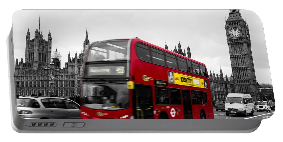 Red Portable Battery Charger featuring the photograph Westminster And Red Bus by Matt Malloy