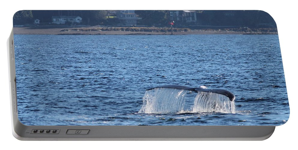 Whale Tale Portable Battery Charger featuring the photograph Whale Tale by Pamela Walrath