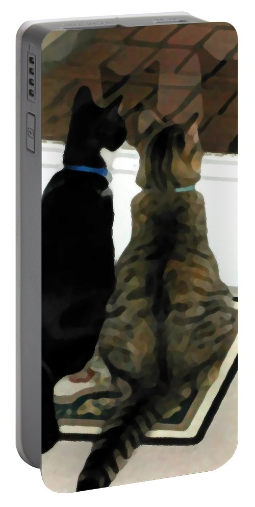 Black And White Portable Battery Charger featuring the photograph What Do You See by Jeanne A Martin