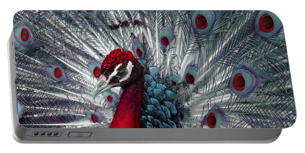 Peacock Portable Battery Charger featuring the photograph What If - A Fanciful Peacock by Ann Horn