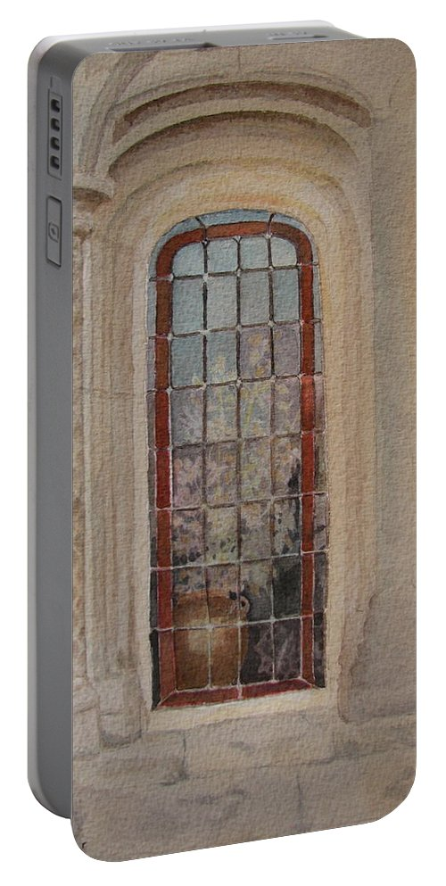 Window Portable Battery Charger featuring the painting What Is Behind The Window Pane by Mary Ellen Mueller Legault