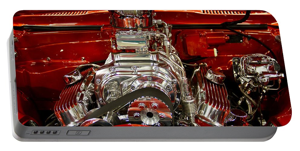 Neat Portable Battery Charger featuring the photograph What Is Under The Hood-red Customized Retro Pontiac by Eti Reid