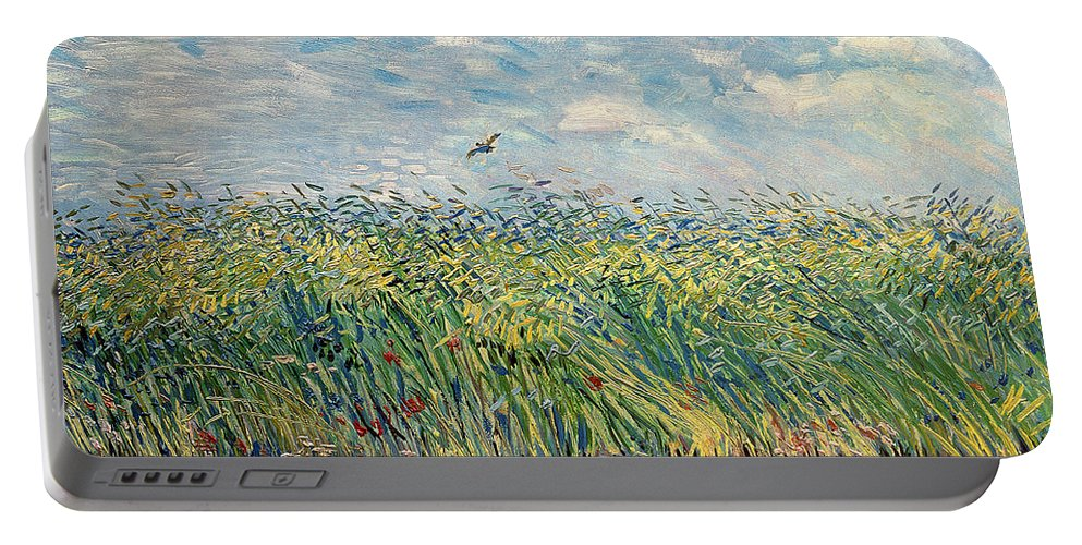 Post-impressionist; Wheat Field; Landscape; Bird; Poppies; Actually A Partridge Portable Battery Charger featuring the painting Wheatfield With Lark by Vincent van Gogh