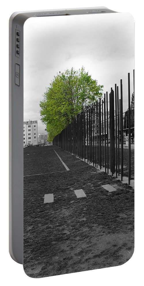Berlin Wall Gdr Ddr Mauerverlauf Mauer East Bernauer Strasse Remember Memorial Photgraph Sw Bw Schoenholzer Strasse Inhumanity Portable Battery Charger featuring the photograph When Hope Blooms Again by Steve K