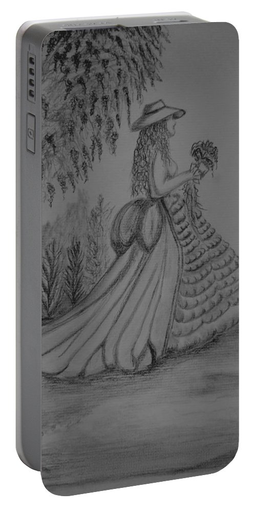 When I Am Alone Portable Battery Charger featuring the drawing When I Am Alone by Maria Urso