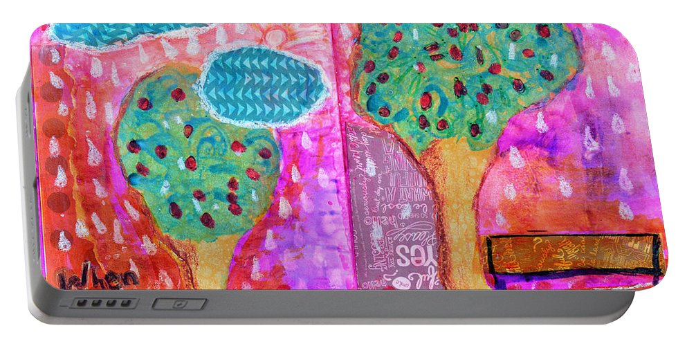 Rain Portable Battery Charger featuring the mixed media When It Rains by Donna Blackhall