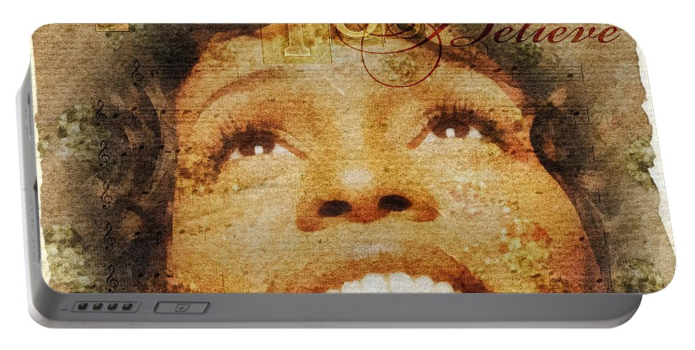 Whitney Houston Portable Battery Charger featuring the mixed media When You Believe by Mo T