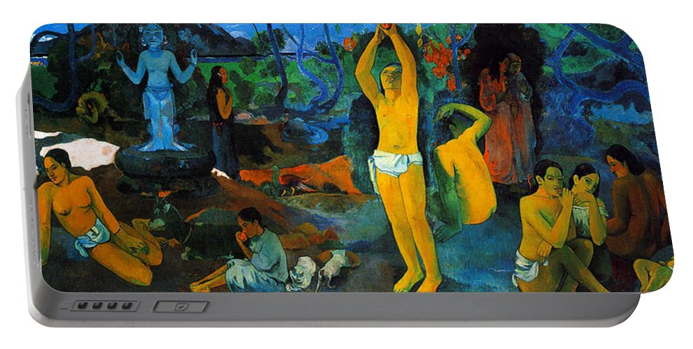 Paul Gauguin Portable Battery Charger featuring the painting Where Do We Come From. What Are We Doing. Where Are We Going by Paul Gauguin