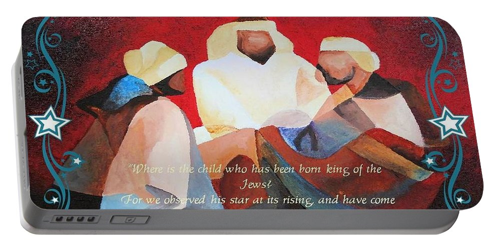 Three Kings Portable Battery Charger featuring the painting Where Is The Child Who Has Been Born King Of The Jews by Taiche Acrylic Art