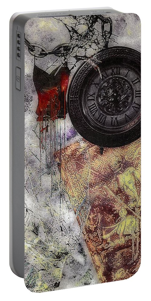 Nightmare Portable Battery Charger featuring the painting While You Were Sleeping by RC DeWinter
