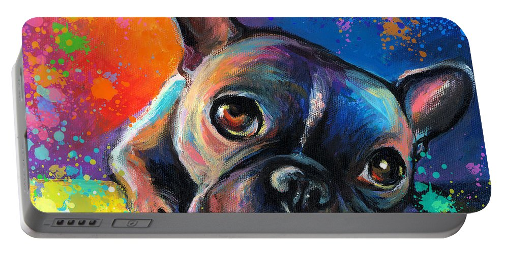 French Bulldog Prints Portable Battery Charger featuring the painting Whimsical Colorful French Bulldog by Svetlana Novikova