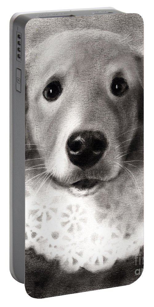 Lab Portable Battery Charger featuring the painting Whimsical Labrador Retriever In A Costume by Svetlana Novikova