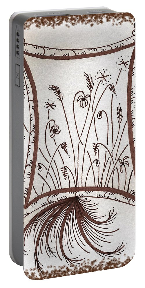 Whimsy Portable Battery Charger featuring the drawing Whimsical Window by Cindy Angiel