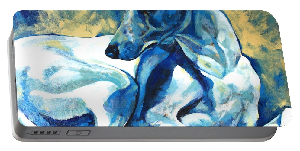 Whippet Paintings Portable Battery Charger featuring the painting Whippet-effects Of Gravity 5 by Derrick Higgins