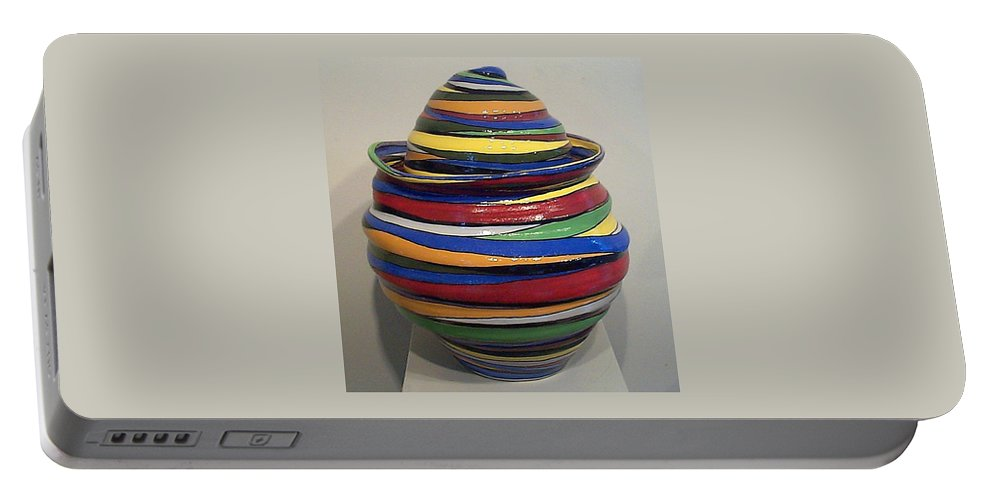 Clay Portable Battery Charger featuring the ceramic art Whirly Swirly by Mike McGoff