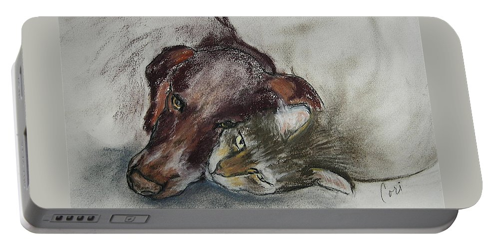 Dog Portable Battery Charger featuring the drawing Whisker To Whisker by Cori Solomon