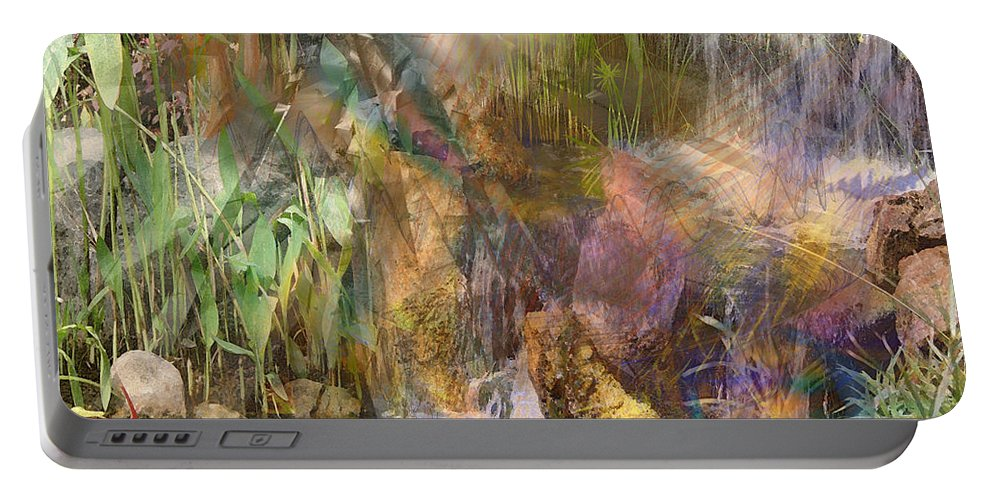 Floral Portable Battery Charger featuring the digital art Whispering Waters - Square Version by John Beck