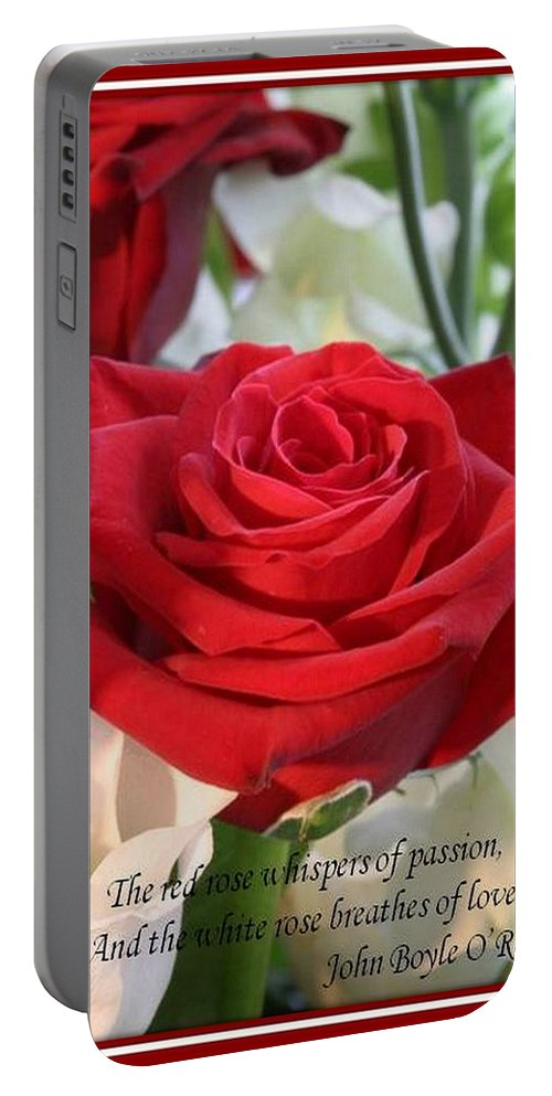 Rose Portable Battery Charger featuring the photograph Whispers Of Passion And Love Red Rose Greeting Card by Taiche Acrylic Art
