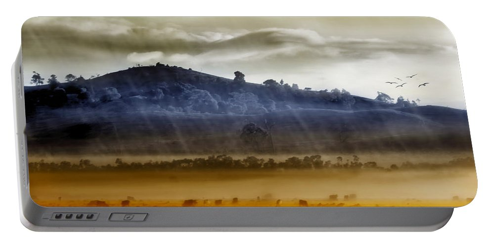 Landscapes Portable Battery Charger featuring the photograph Whisps Of Velvet Rains... by Holly Kempe