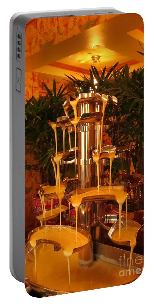 Fondue Fountains Art Portable Battery Charger featuring the photograph White And Dark Chocolate Fondue Fountain by John Malone