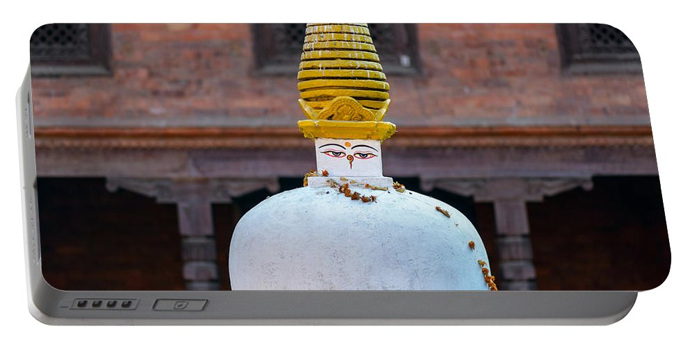 Stupa Portable Battery Charger featuring the photograph White And Golden Chorten by Dutourdumonde Photography