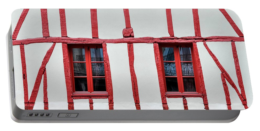Ancient Portable Battery Charger featuring the photograph White And Red Half-timbered House Detail by Dutourdumonde Photography