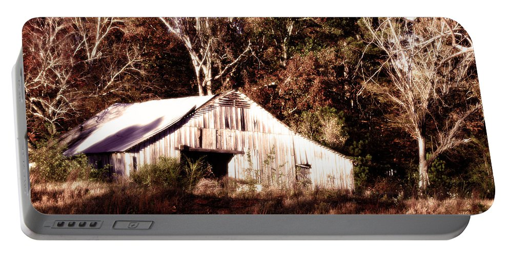Hdr Photography Portable Battery Charger featuring the photograph White Barn In Autumn by Lesa Fine