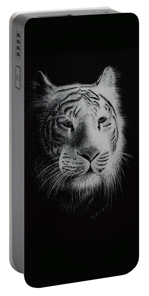 Greeting Cards Portable Battery Charger featuring the painting White Bengal Tiger by Joy Bradley