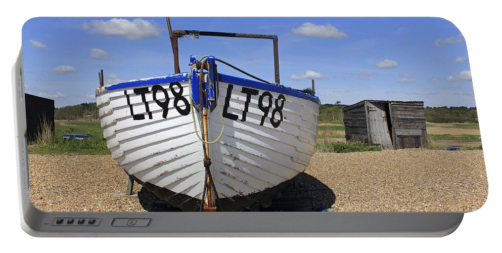 White Boat Britain British English Landscape Uk United Kingdom Beach Sunny Sunshine Coast Pebble Pebbles Shingle Fishing Lt98 Dunwich Suffolk Blue Sky Seaside Portable Battery Charger featuring the photograph White Boat by Julia Gavin