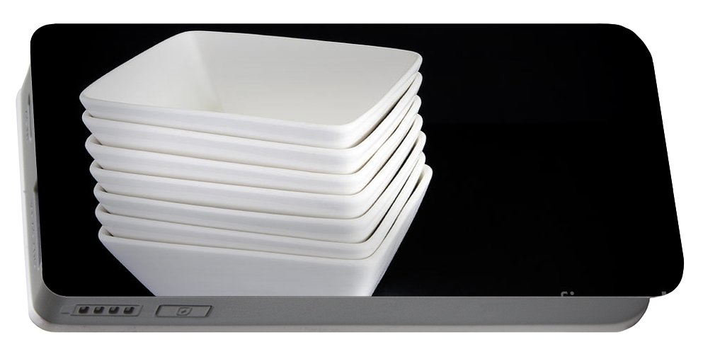 Bowl Portable Battery Charger featuring the photograph White Bowls On Black by Tim Hester