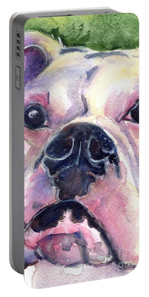 White Boxer In Watercolor Portable Battery Charger featuring the painting White Boxer by Maria's Watercolor