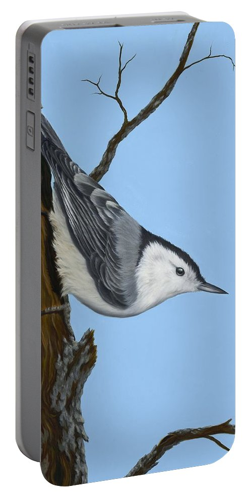 Animals Portable Battery Charger featuring the painting White Breasted Nuthatch by Rick Bainbridge
