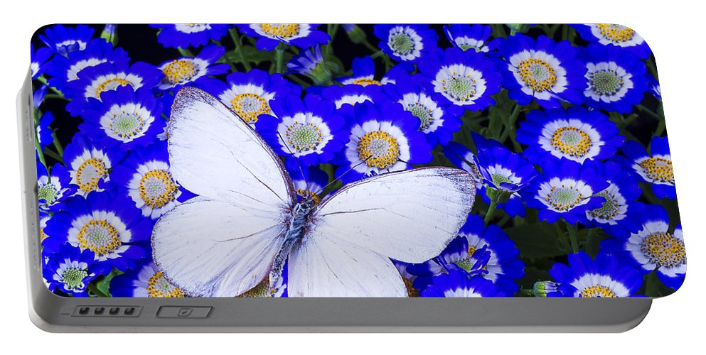 Blue Portable Battery Charger featuring the photograph White Butterfly In Blue Flowers by Garry Gay