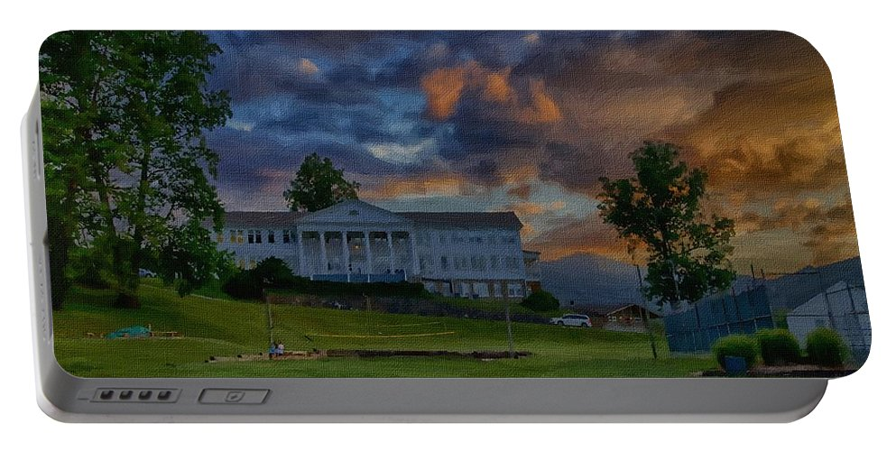 Canvass Portable Battery Charger featuring the photograph White Columns Under Evening Skies by Dennis Baswell