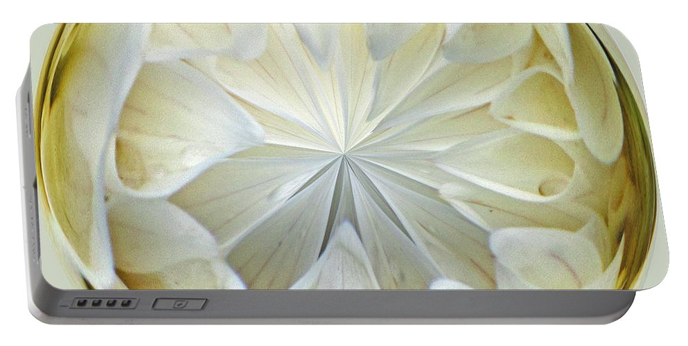 Design Portable Battery Charger featuring the photograph White Dahlia Orb by Tikvah's Hope