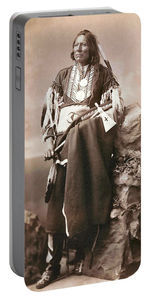 White Eagle Ponca Chief Portable Battery Charger featuring the digital art White Eagle Ponca Chief by Unknown