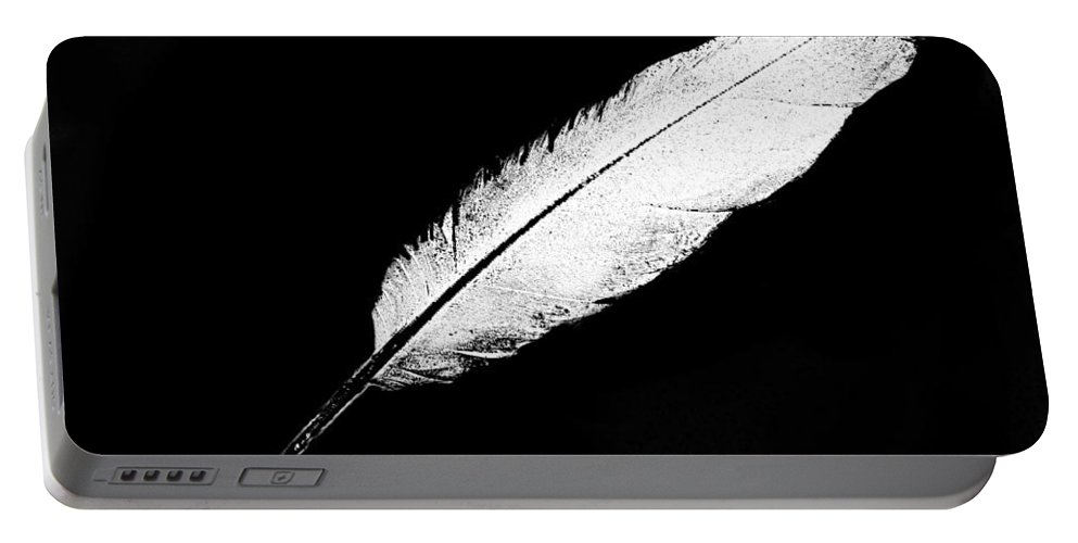Feather White Black Back Ground .simple Portable Battery Charger featuring the digital art White Feather by Expressionistart studio Priscilla Batzell