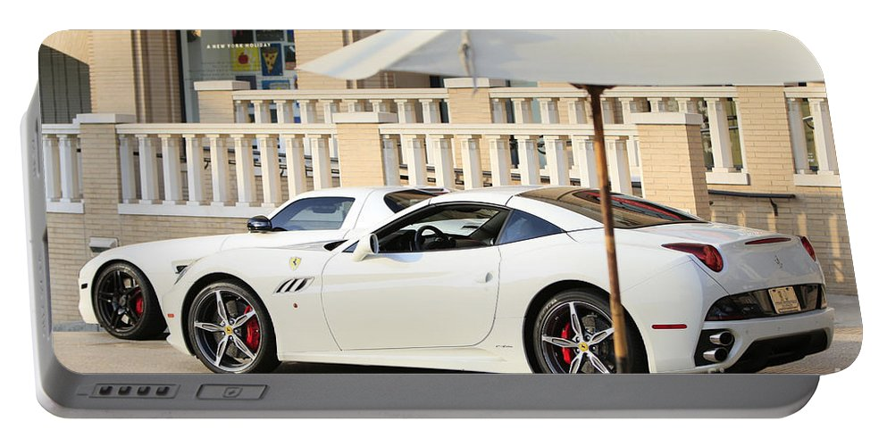 White Ferrari At The Store Portable Battery Charger featuring the photograph White Ferrari At The Store by Nina Prommer