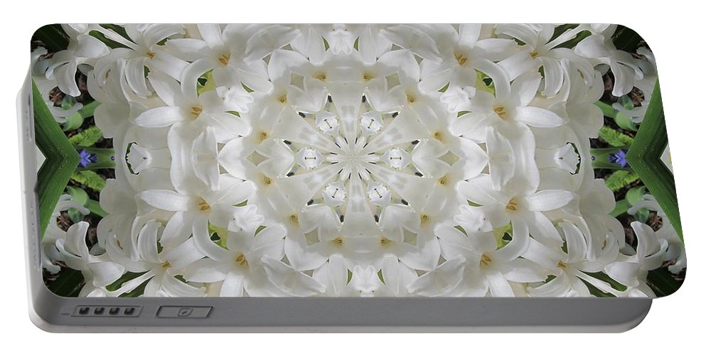 Kaleidoscope Portable Battery Charger featuring the photograph White Flower by Lena Photo Art