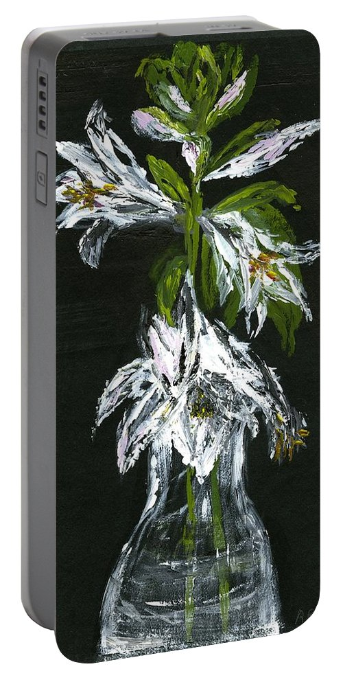 Arrangement Portable Battery Charger featuring the painting White Flowers by Alice Faber