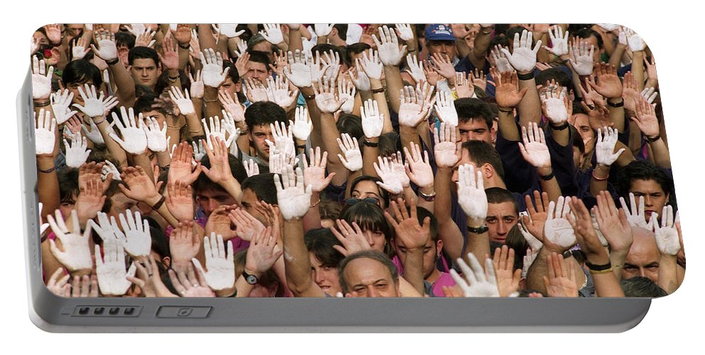 Hands Portable Battery Charger featuring the photograph White Hands - Manos Blancas by Rafa Rivas