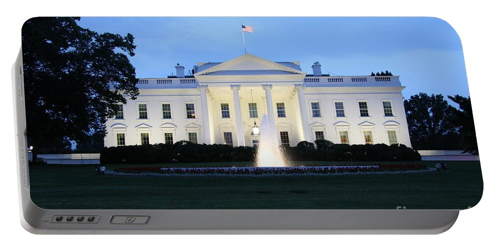 White House Portable Battery Charger featuring the photograph White House In Eveninglight Washington Dc by Christiane Schulze Art And Photography