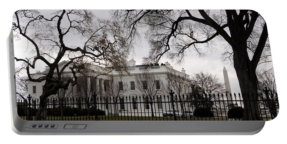 White House Portable Battery Charger featuring the photograph White House On A Cloudy Winter Day by Gary Whitton