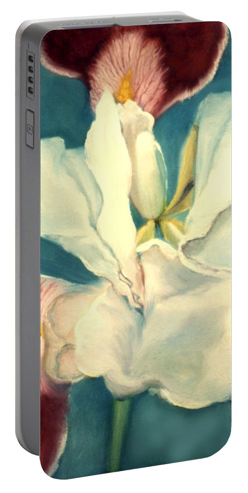 Flowers Portable Battery Charger featuring the painting White Iris by Anni Adkins