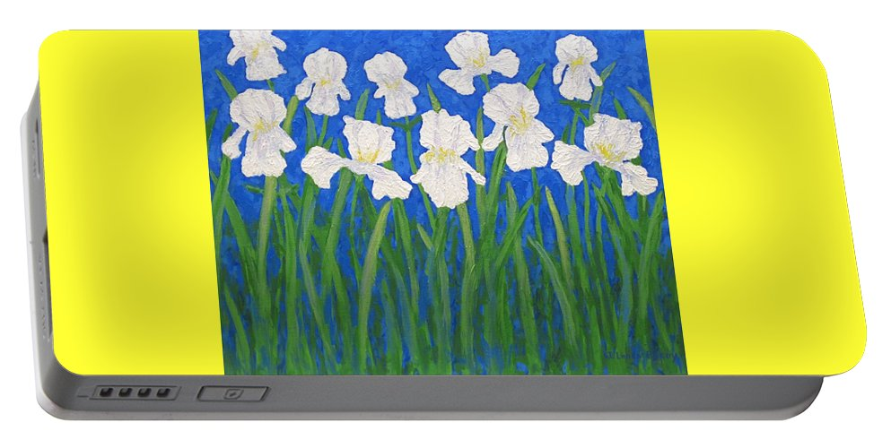 Iris Paintings Portable Battery Charger featuring the painting White Irises by J Loren Reedy