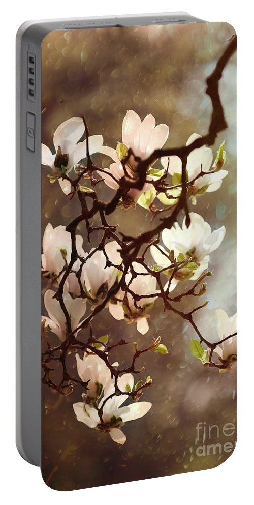 Flower Portable Battery Charger featuring the photograph White Magnolias by Jaroslaw Blaminsky