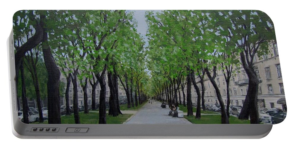 Russia Portable Battery Charger featuring the painting White Night In St. Petersburg by Karen Ilari